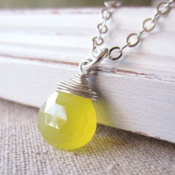 Yellow Chalcedony Necklace Wire Wrapped  Sterling Silver - Lemon Drop