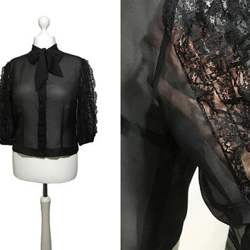Black Lace 1950's Blouse | Big Sleeve Blouse | 50's Blouse | Diolen Strobel Bluse