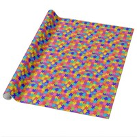 Colorful Jigsaw Puzzle Pieces Happy Puzzler Wrapping Paper