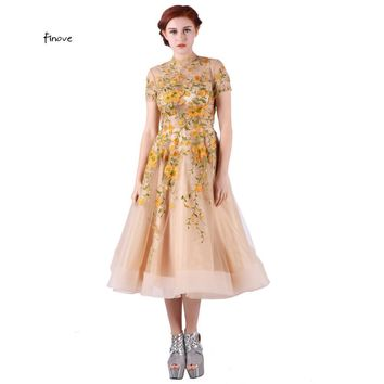 Finove Tulle Prom Dresses Short Sleeve Appliques Vintage Open Back with High-Neck Cocktail Dress Formal Gowms vestido de festa