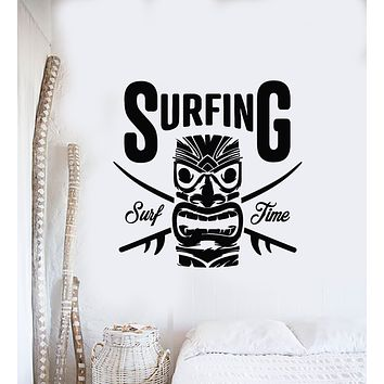 Vinyl Wall Decal Hawaii Surfing Surf Time Paradise Beach Style Stickers Mural (g1124)