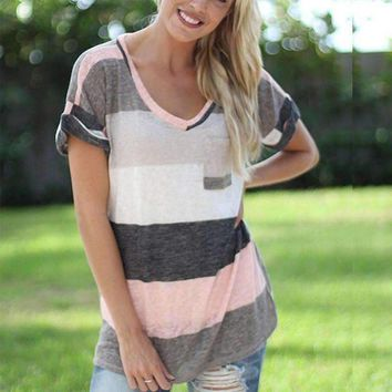 New Vouge Women Ladies Casual Loose Tops Short Sleeve Stripe T-Shirt