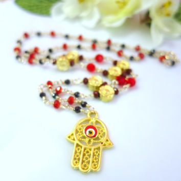 Red evil eye hamsa cherry blossom necklace, Red hamsa gold flower black pyrite red crystal rosary necklace, good luck evil eye gold necklace