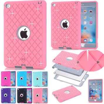 Shining Case For Apple iPad Mini 4 Cover Bling Rhinestone Kids Safe Shockproof Heavy Duty Silicone Hard BackTablet Case Cover