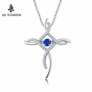 JO WISDOM Blue Topaz Necklace Cross Pendant 925 Sterling Silver Cross Dancing Stone Birthstone Jewelry
