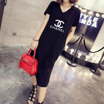 """Chanle"" Women Casual Fashion Letter Logo Print V-Neck Short Sleeve Middle Long Section T-shirt Side Split Dress"