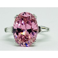 A Fancy Pink 5.9CT Oval Cut Russian Lab Diamond Solitaire Ring