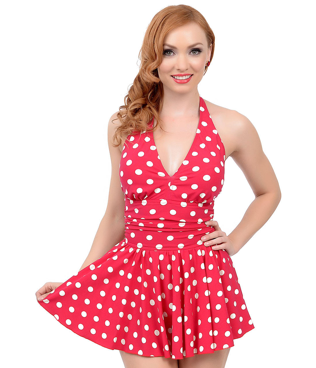 a77acc3b1272f Esther Williams Vintage 1950s Style Pin-Up Red & White Dot Marilyn Swimdress