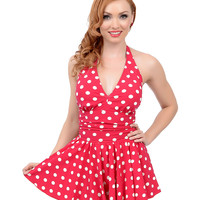 Esther Williams Vintage 1950s Style Pin-Up Red & White Dot Marilyn Swimdress