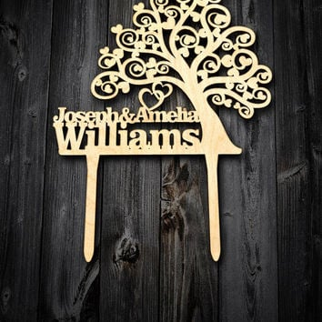 Wood Tree Wedding cake topper Wood Cake Topper. Engraved last name cake topper wedding personalized  name and surname. Custom cake topper.