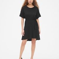 Flutter Sleeve Tie-Belt Dress in Ponte | Gap