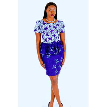 African Print Purple And White Peplum Dress