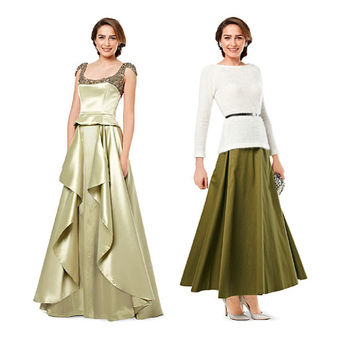 EVENING SKIRT PATTERN Flared Maxi Skirt Draped Flounced Formal Wedding Skirt Burda 7001 Size 8 10 12 14 16 18 UNCuT Womens Sewing Patterns