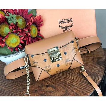 MCM Fashionable Women Leather Purse Waist Bag Single-Shoulder Bag Crossbody Brown