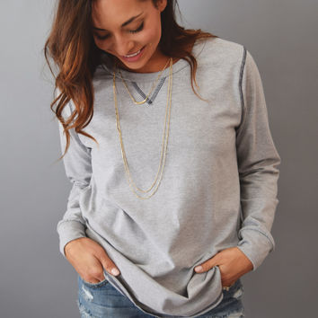 Indian Paintbrush Stitched Top Grey