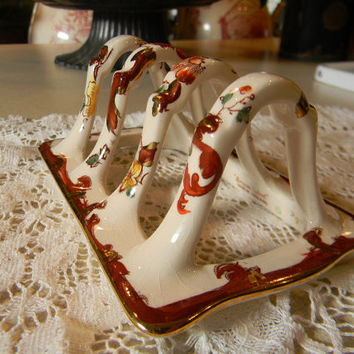 RARE Masons Vintage English Brown Transferware Toast Rack or Letter Organizer