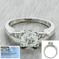 1920s Antique Art Deco Platinum 1.18ctw I SI2 Diamond Engagement Ring EGL $11720