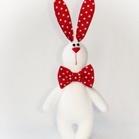 White bunny with red bow - soft toy - children gift - sewing toy - toy animal - stuffed bunny