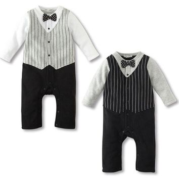 Trendy Kids Baby Boy Wedding Formal Gentleman Party Bow Tie Tuxedo Suit Romper Jumpsuit Outfit Clothes Autumn Winter Sets