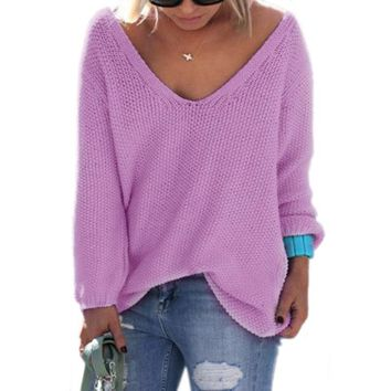 Pullover Knit Tops V-neck Sweater [11275921159]