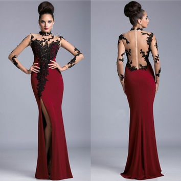 2015 High Neck Maroon Prom Dress  Sexy Slit Side Sheer Back Prom Dress with Black appliques Long Women Party gown