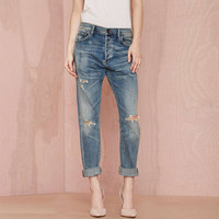 Frayed Denim Pants