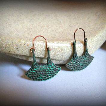Patina Hammered hoop earring-patina hoop earring-bohemian earring-gypsy earring-tribal earring-ethnic earring