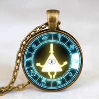 Drama Gravity Falls Mysteries BILL CIPHER WHEEL Steampunk Pendant Necklace doctor who 1pcs/lot mens harry potter vintage us