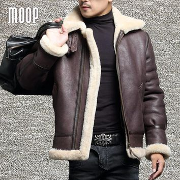 Winter men genuine leather coats sheepskin shearling fur pilot motorcycle jackets manteau homme veste cuir homme LT1107