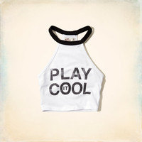 Play It Cool Graphic Halter Top