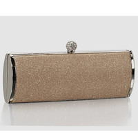 Nude Glitter Top Lock Barrel Clutch