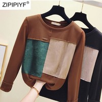Size S-2XL High Quality Autumn 2018 Fashion Casual Women Knitted Shirt Elegant O-Neck Long Sleeve Patchwork Women Clothing H5002