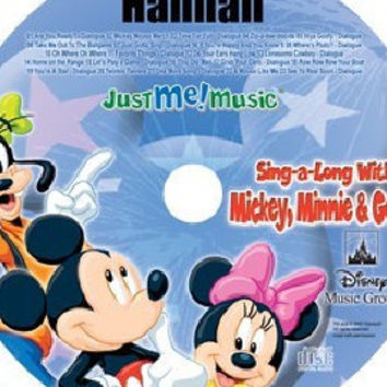 Personalized Mickey Mouse CD.  Mickey Mouse, Minnie, and Goofy sing and talk to your child using the child's name