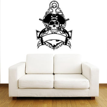 Wall Decal Vinyl Sticker Decals Art Home Decor Mural Pirate Skull Anchor Crossed Pistols Children Kids Boys Room Fashion Bedroom Dorm AN520