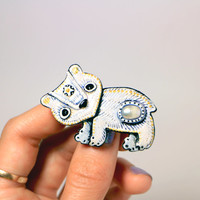 "Free shipping, polar bear , animal brooch , animal pins , bear jewelry, Clay  bear pin ""cute polar bear """