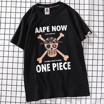 AAPE x ONE PIECE Joint Series Hot Stamping Pirate Taro Print Men's and Women's Round Neck Short Sleeve T-Shirt black