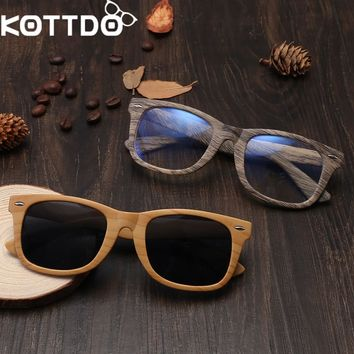 KOTTDO 2018 Fashion Vintage Okulary Men's Wood Grain Sunglasses Glasses Frame Women Retro Eyeglasses Eyewear Oculos