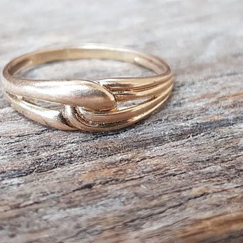 Vintage Gold Knot Ring , 9ct Real Yellow Gold  , Miminalist Ring , Stack Ring , Gifts For Her