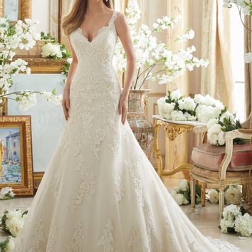 Mori Lee 2890 Tank Lace Fit & Flare Wedding Dress