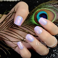 Chrome Holographic Fake Nails Light Pink Mirror Shiny False Nails Finger Full Wrap DIY Nail Tips with Glue Stiker Z720