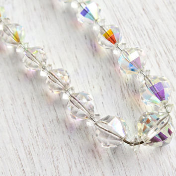 SALE - Vintage Aurora Borealis Crystal Beaded Necklace - Single Strand Signed Laguna Glass Bead Iridescent Costume Jewelry / Bridal Necklace