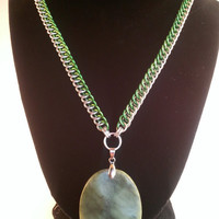 Green pendant half persian chainmaille necklace 20 inch