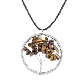 Natural Stone Healing Tree of Life  Necklace Handmade