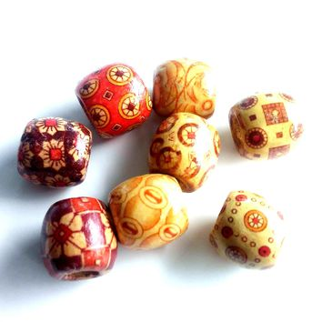 8pcs large wood Dreadlock bead, hair accessory, ear cuff ethnic jewelry