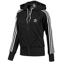 Adidas zipper fashion coat Sweatshirt Cardigan Black