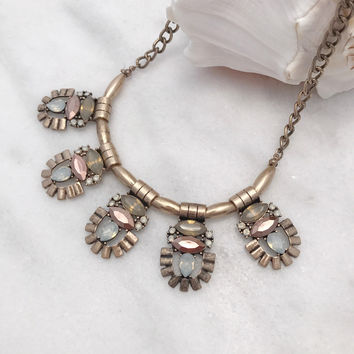 Statement Necklace Set with Brown Stones - Gold Tone