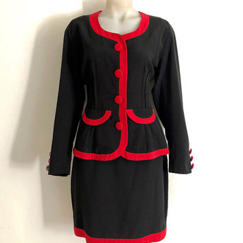 CUE!!! Vintage 1990s 'Cue Design' black and red power suit with big buttons and panelled edges