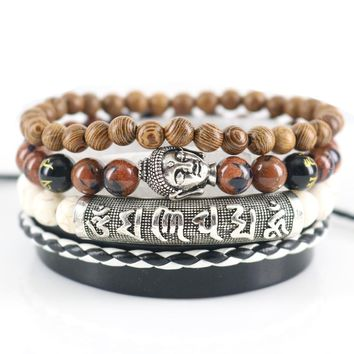 Beasivor Brown Sand Stones Beaded Buddha Bracelets Leather Wrap Men Fashion Bracelets & Bangles Multi 4 layers om mani padme hum