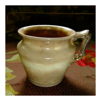Vintage Hand Cast Clay Mug Creamy Brown with Mottled and Speckled Finish Hallmarked