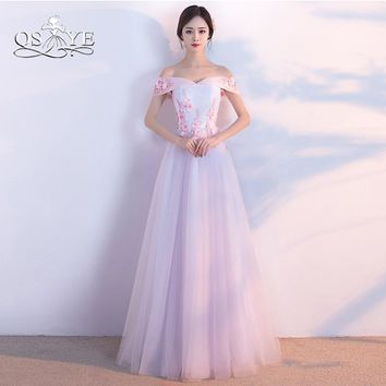 QSYYE 2018 New Long Prom Dresses Elegant Off the Shoulder 3D Floral Flower Floor Length Tulle Formal Evening Party Gown